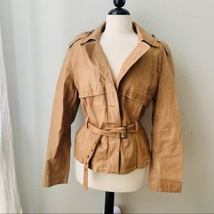 WILSON LEATHER tan beige belted leather jacket XL